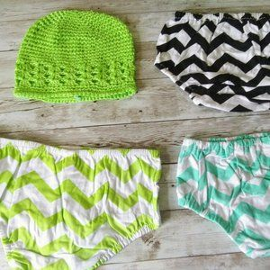 3PC Baby Bloomers Shorts + 1 Green Hat Set 6M-12M
